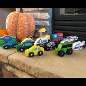 Melissa & Doug (most) wooden cars and helicopters